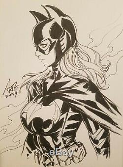 Stanley ARTGERM Lau Stephanie Brown Batgirl sketch 9x12 Inks on Art Paper