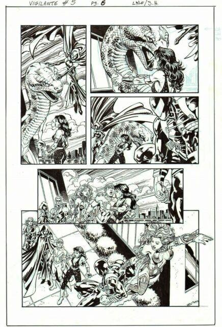 Starfire, Wonder Girl, Raven, Teen Titans Orig. Ink Art-tom Lyle/ Scott Hanna