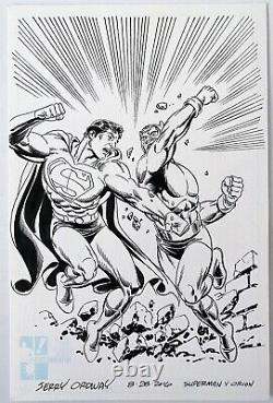 Superman vs Orion! Original Art by Artist Jerry Ordway Hero Initiative 2016