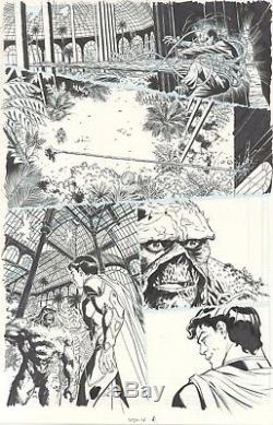 Swamp Thing original comic art page by Kano. Superman appears as well