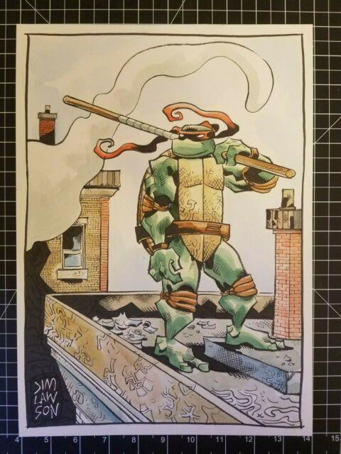 Tmnt Mirage Donatello Xl Original Art Sketch In Color By Jim Lawson 10 X 15