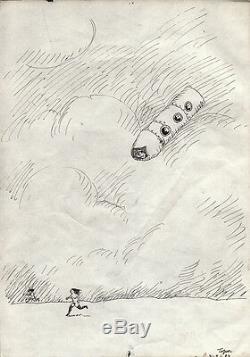 TOPOR. Dessin original pour La Planète Sauvage de Laloux. Encre de Chine. (B/40)
