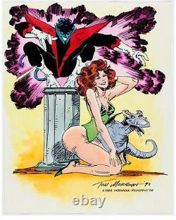 Tom Morgan drawing X-Men Nightcrawler Kitty Pryde Lockjaw original comic art