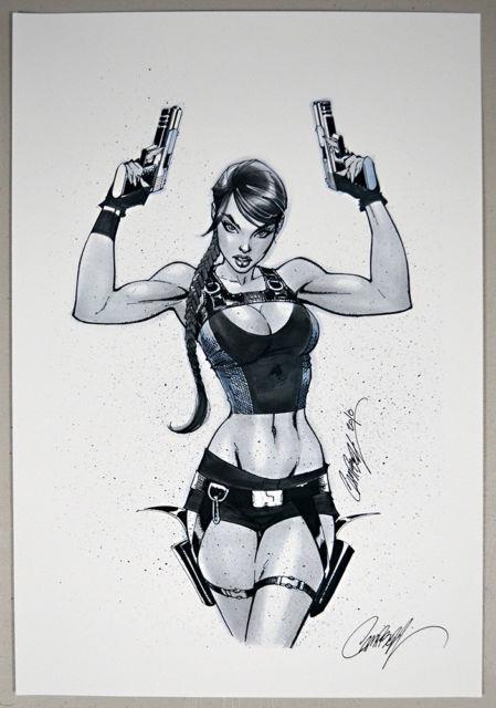 Very Rare J Scott Campbell Hand Signed Lara Croft Tomb Raider Test Print Copic