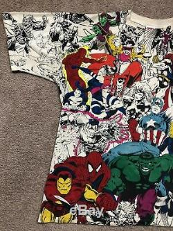 VTG 1993 Marvel All Over Print Baggy T Shirt Comic Art Movie 2 Sided Rap Tee 90s