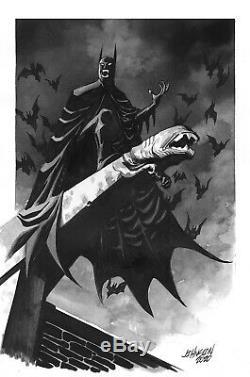 Vampire Batman B&W Pin-up by Dave Johnson 10x14 Watercolor Original