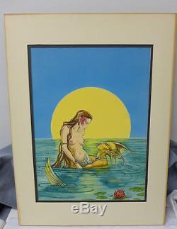 Victoria Poyser Original Fantasy Comic Art Painting Mermaid Merman