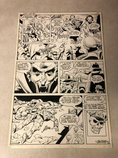 Weird War Tales #83 Original Art 1980 Last Page Vampire Undead Kill Germans Wine