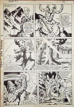WHAT IF # 47 Pg 14 original comic art LOKI Kelley Jones Thor 1984 Marvel