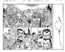Walt Simonson/ Hanna Avengers Double Page Spread Original Ink Art-free Shipping