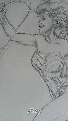 Wonder Woman Adam Hughes signed original pencil drawing from 1989 Justice League