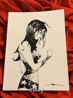 Wonder Woman Diana Prince Gal Gadotoriginal Sketch Artbrushed Inkjae Lee